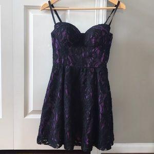 Guess black and purple lace dress size 1